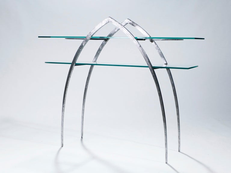 French Unique Wrought Iron and Glass Console, circa 2000 For Sale