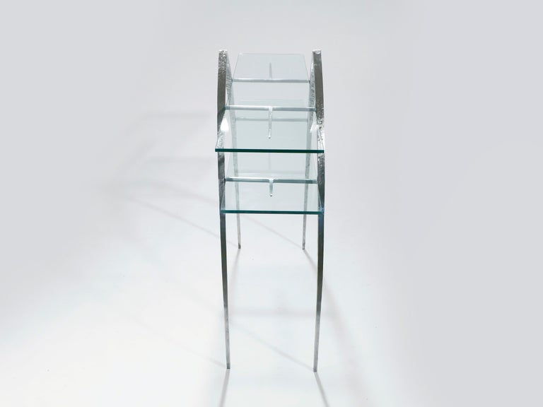 Hammered Unique Wrought Iron and Glass Console, circa 2000 For Sale