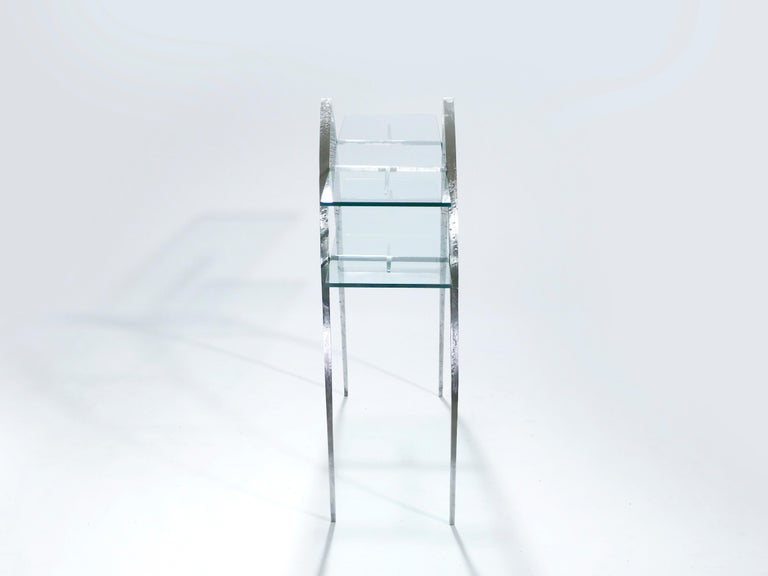 Unique Wrought Iron and Glass Console, circa 2000 In Excellent Condition For Sale In Paris, FR