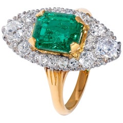 Unique Yellow Gold 2.49 Carat Emerald Ring with White Diamonds