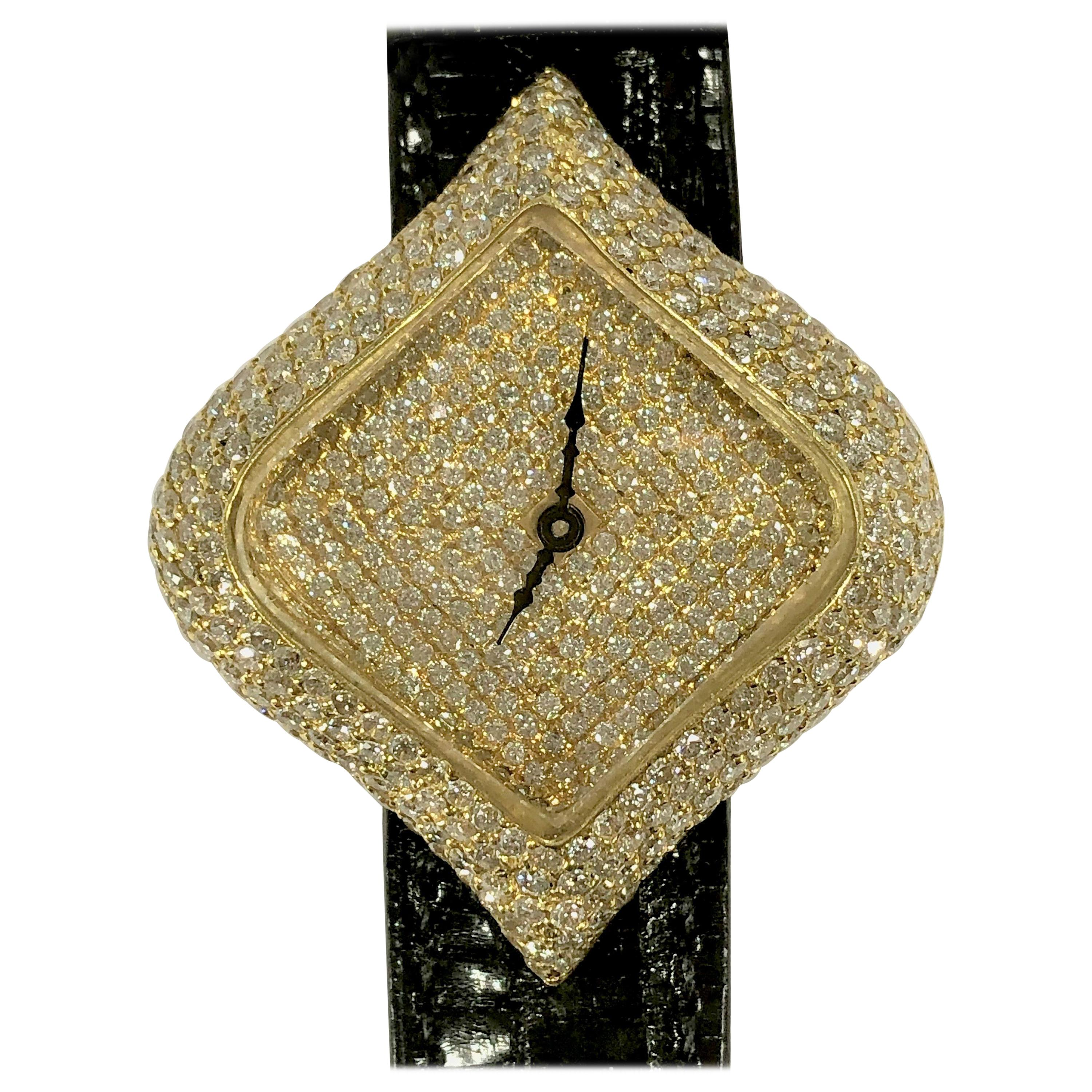 Uniquely Shaped Diamond Encrusted Yellow Gold Watch with Black Lizard Strap