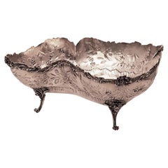 Uniquely Shaped French Sterling Silver Centerpiece Fruit Bowl