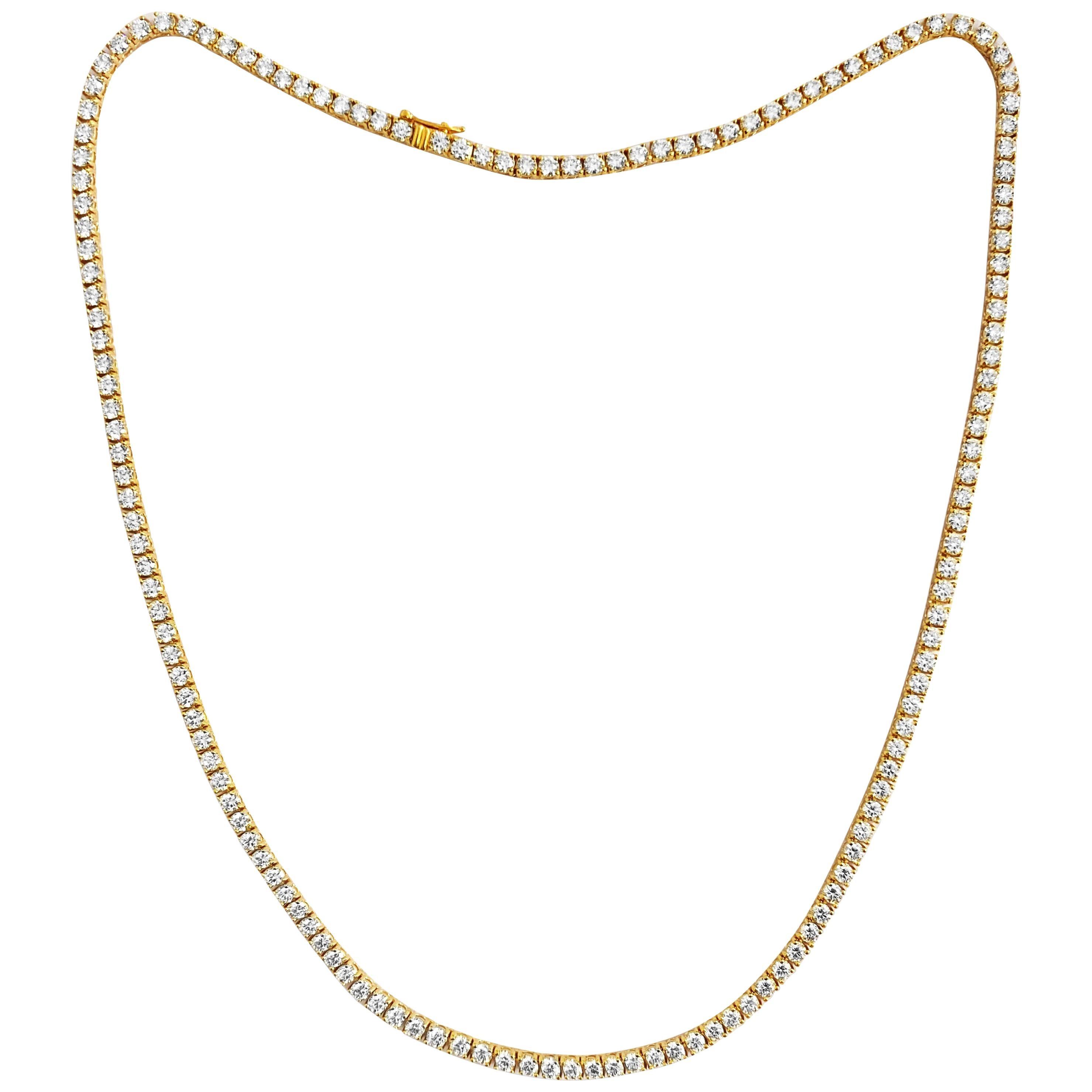 Unisex 14.50 Carat VVS Diamond Tennis Necklace 14 Karat Yellow Gold