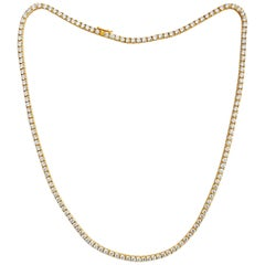Unisex 14.50 Carat VVS Diamond Tennis Necklace 14 Karat Yellow Gold