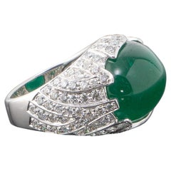 Unisex 15.62 Carat Emerald Cabochon and Diamond Dome Cocktail Ring
