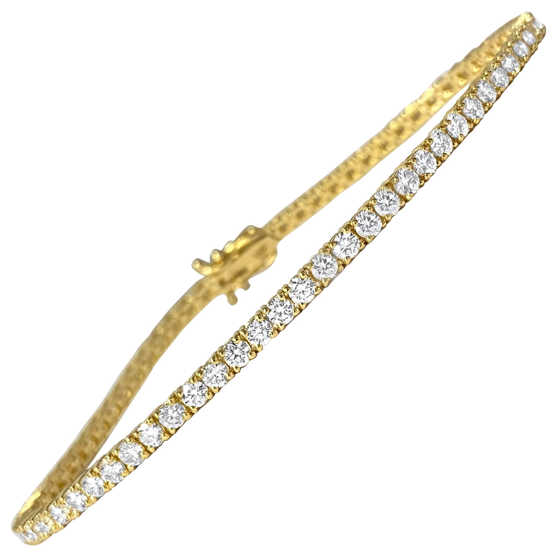 Unisex 5.00 Carat VVS Diamond Tennis Bracelet in 10k Yellow Gold