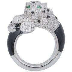 Unisex Cartier Diamond Onyx Emerald Eyes Panthere de Cartier Ring