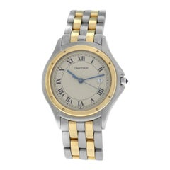 Unisex Cartier Panthere Cougar 187904 Two-Row Steel 18 Karat Gold Quartz Watch