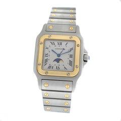 Unisex Cartier Santos Galbee 119901 18 Karat Gold Moonphase Quartz Watch