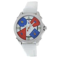 Unisex Jacob & Co. Five 5 Time Zone NBA Steel Mother of Pearl Quartz Watch