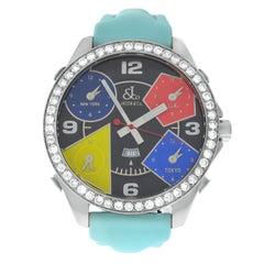 Unisex Jacob & Co. Five Time Zones Diamond Bezel Steel Quartz Watch