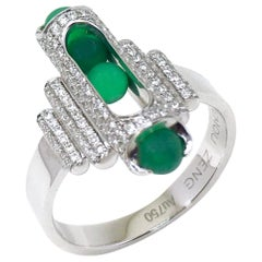 Unisex Melody Cocktail Ring 18 Karat White Gold Pave Diamonds Green Chalcedony