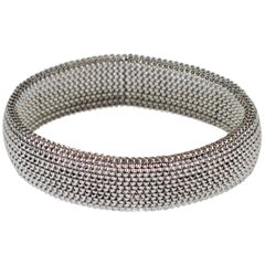Unisex Modern 18 Karat White Gold Flexible Bracelet