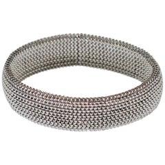 Unisex Modern 18 Karat White Gold Flexible, Stretchable Cuff Bracelet