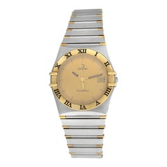 Unisex Omega Constellation 3961070 Half Bar Gold Quartz Date Watch
