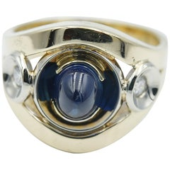 Unisex Oval Cabochon Sapphire and Diamond Ring