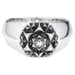 Unisex Sterling Silver Sacred Signet Ring by John Brevard