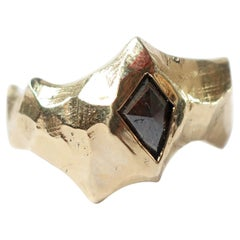 Unisex Thick Hammered Statement Ring in 10k Gold with Geometric Rustic Diamond