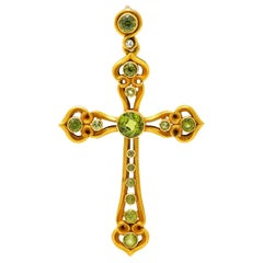 Unisex Victorian Peridot Diamond 14 Karat Gold Celtic Cross Pendant