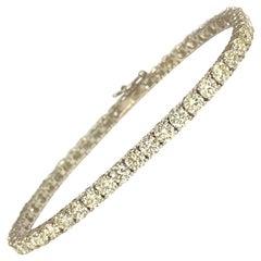 Unisex VVS 9.10 Carat Diamond Tennis Bracelet 14 Karat White Gold