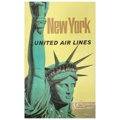 United Air Lines 1960s New York Travel Poster, Galli