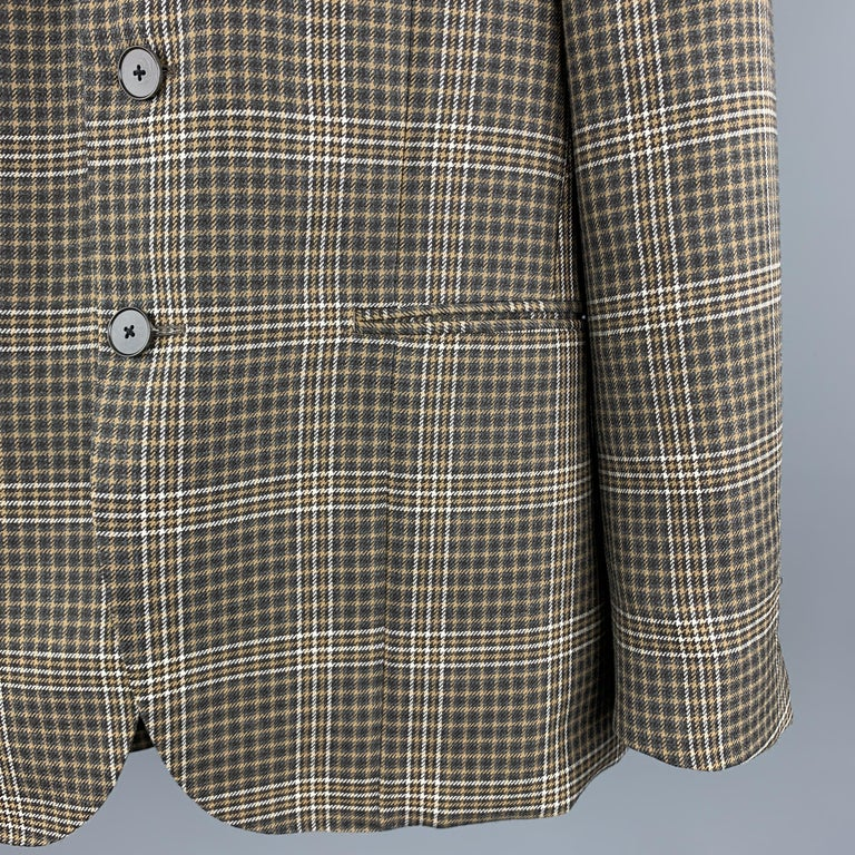Gray UNITED ARROWS Brown Plaid Wool Notch Lapel Sport Coat For Sale