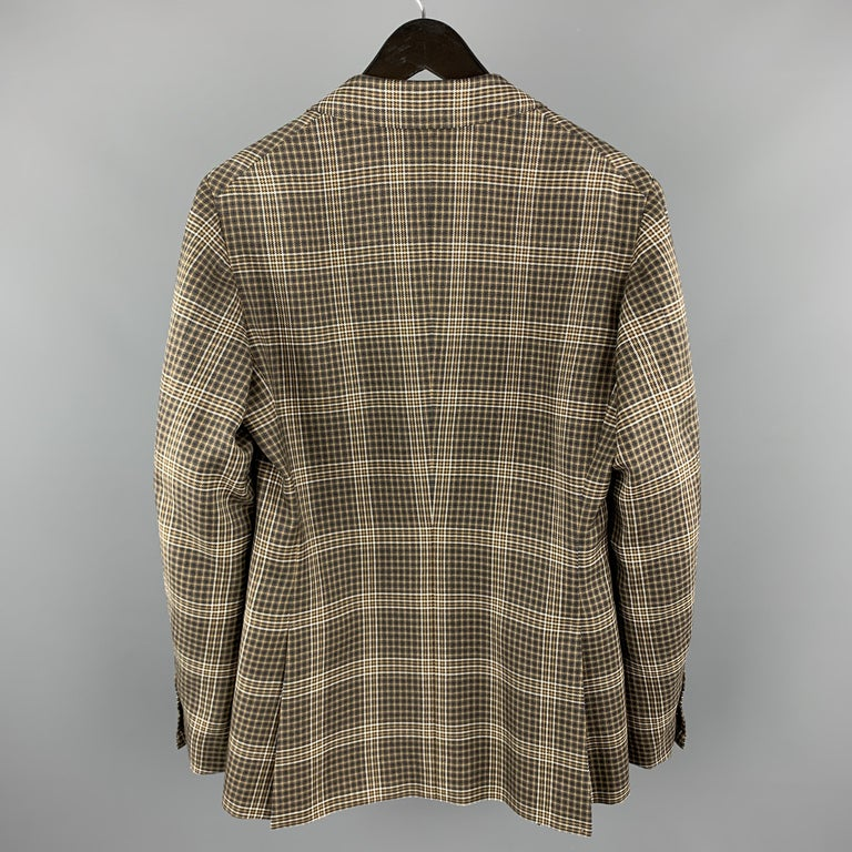UNITED ARROWS Brown Plaid Wool Notch Lapel Sport Coat In Excellent Condition For Sale In San Francisco, CA