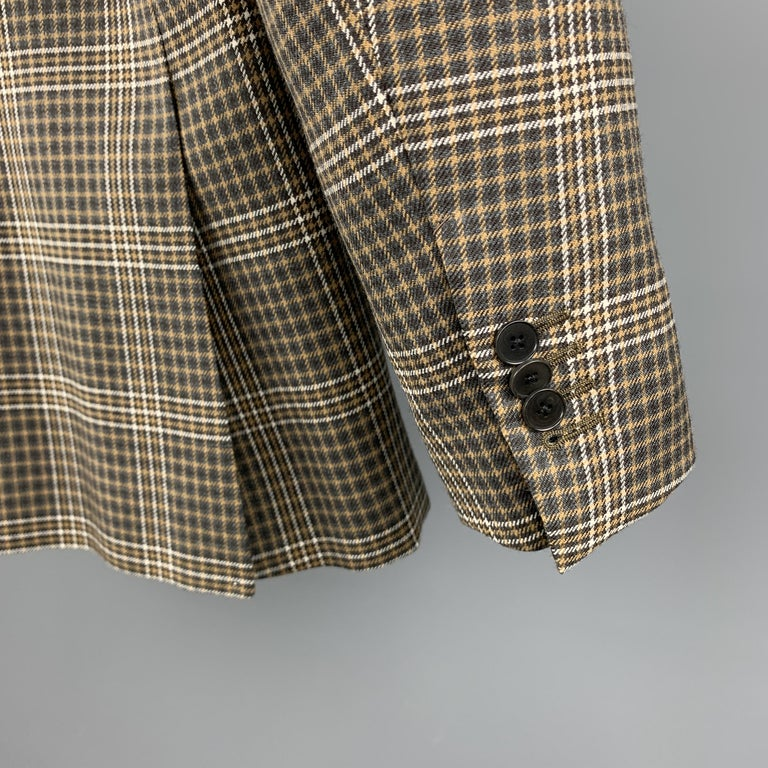 UNITED ARROWS Brown Plaid Wool Notch Lapel Sport Coat For Sale 1