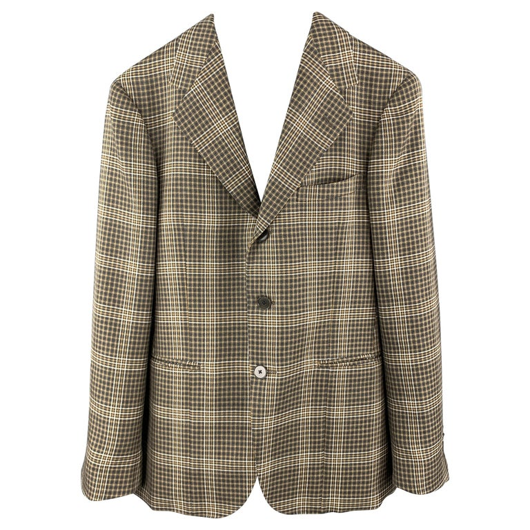 UNITED ARROWS Brown Plaid Wool Notch Lapel Sport Coat For Sale