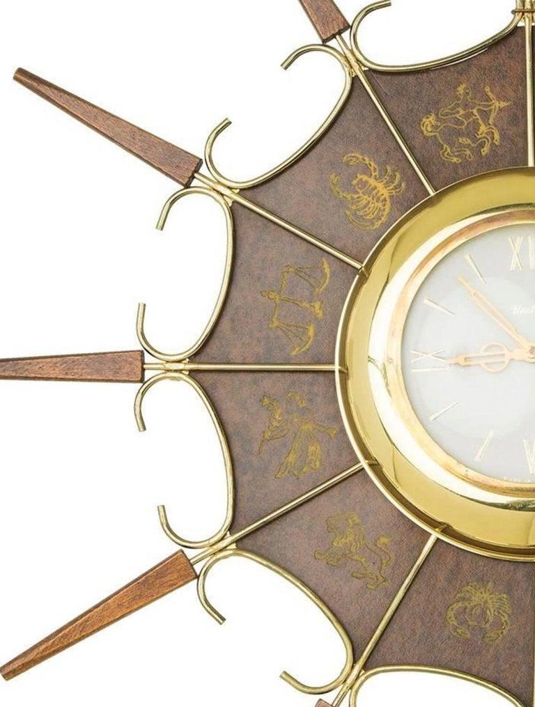 United Embossed Zodiac Sunburst Clock, circa 1950 In Good Condition For Sale In Los Angeles, CA