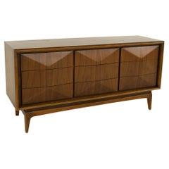 United Furniture Mid Century Diamond Short 9 Drawer Lowboy Dresser