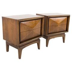 United Furniture Mid Century Diamond Walnut Nightstands, Pair