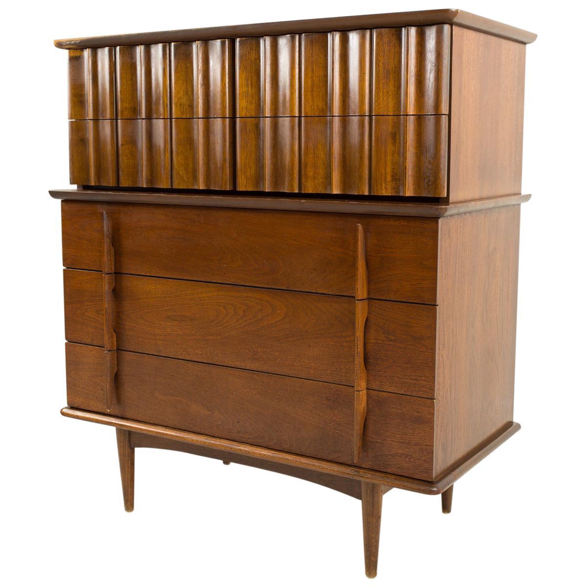 United Furniture Mid Century Walnut 5-Drawer Highboy Dresser