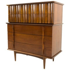 United Furniture Mid Century Walnut 5-Drawer Highboy Dresser