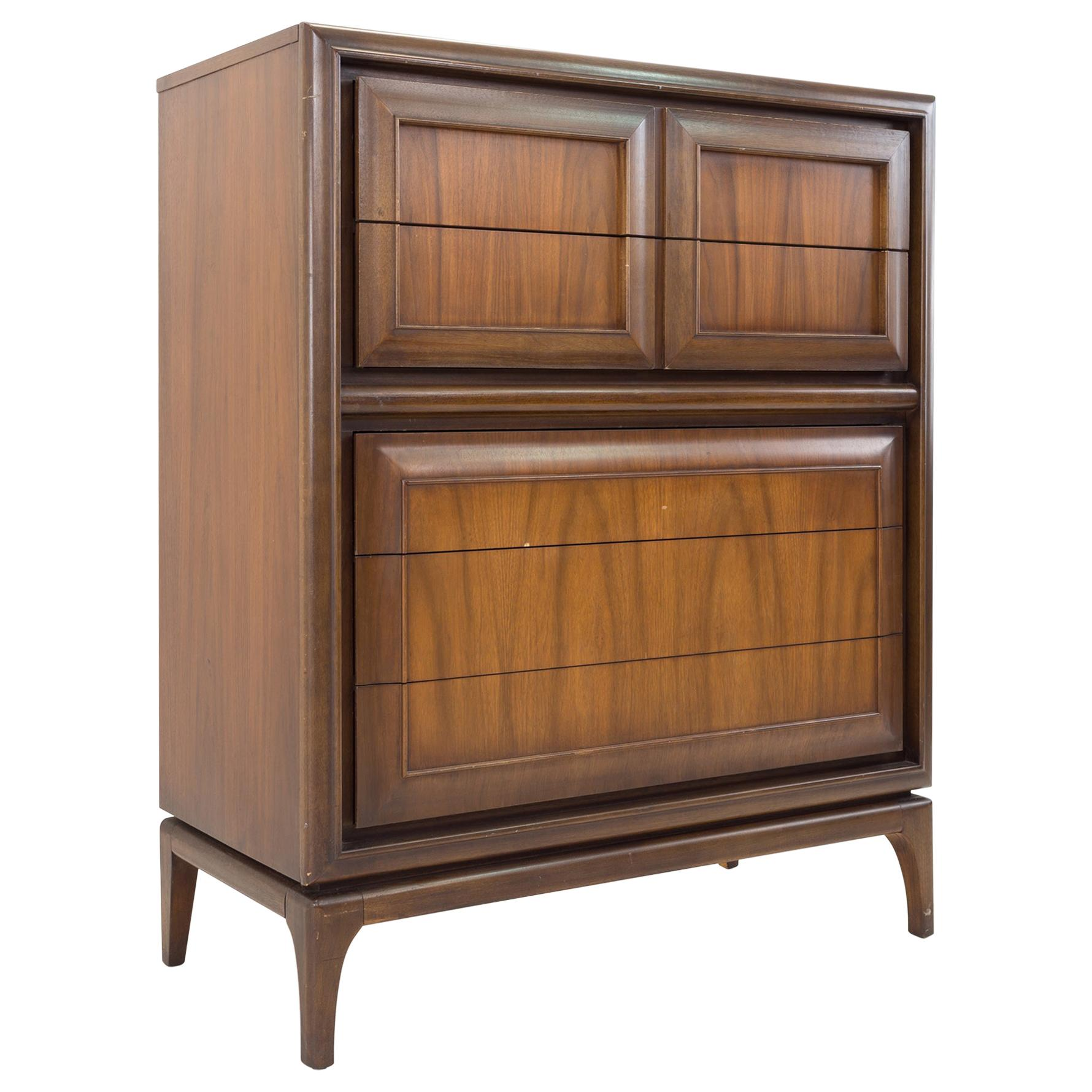 United Furniture Mid Century Walnut 7 Drawer Highboy Dresser