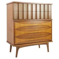 United Furniture Mid Century Walnut Highboy Dresser