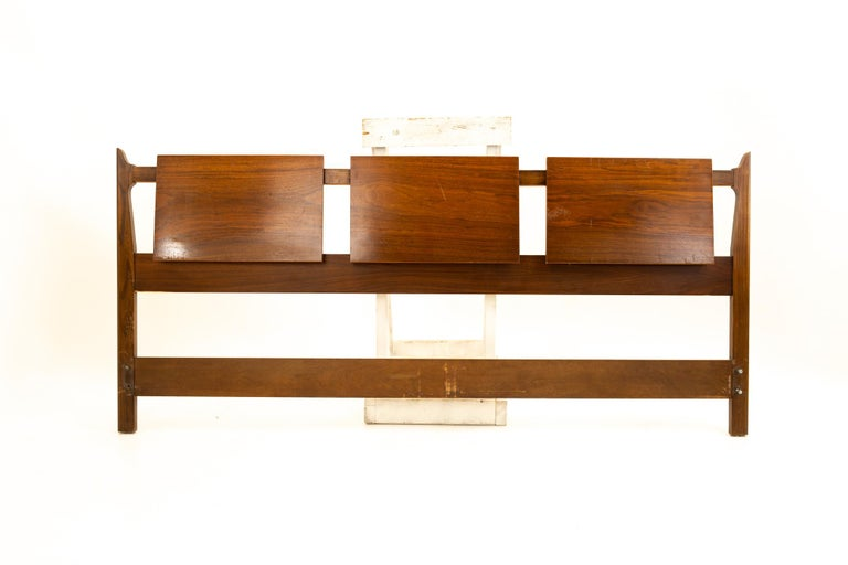 United Furniture Mid Century walnut king headboard Headboard measures: 80 wide x 3 deep x 36 high  All pieces of furniture can be had in what we call restored vintage condition. That means the piece is restored upon purchase so it's free of