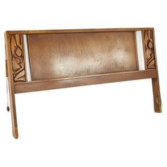 United Furniture Tiki Brutalist Mid Century Walnut Headboard with Lights