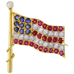 United States Antique Ruby Diamond and Sapphire Flag Pin/Brooch