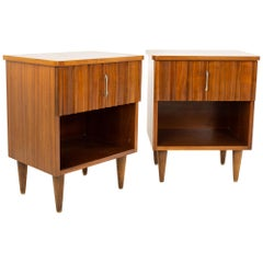 United Style Young Manufacturing Mid Century Walnut and Brass Nightstands, Pair