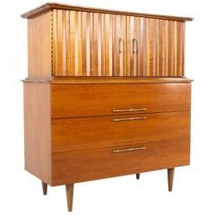 United Style Young MCM Walnut Brass Gentleman's Chest Highboy Dresser