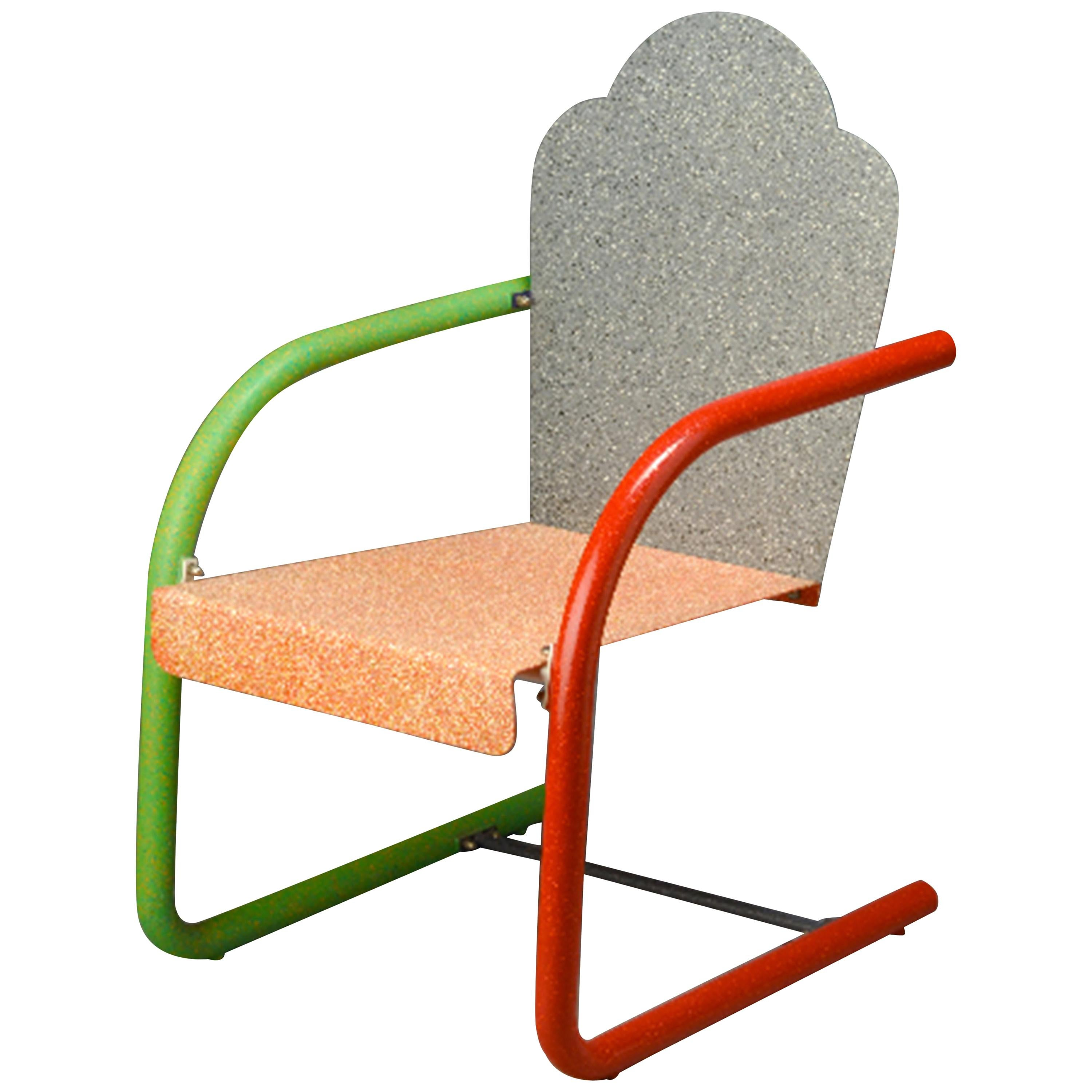 'Universal' Chair 'Pink & Gray' by Peter Shire, 1994