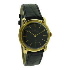 Universal Geneve 18 Karat Yellow Gold Dress Model with Rare Original Black Dial