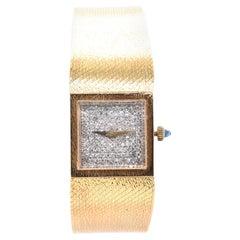 Universal Geneve 18 Karat Yellow Gold Vintage Diamond Mesh Ladies Wrist Watch