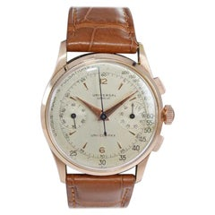 Universal Genève 18 Karat Solid Rose Gold Art Deco Drs. Chronograph from 1940s