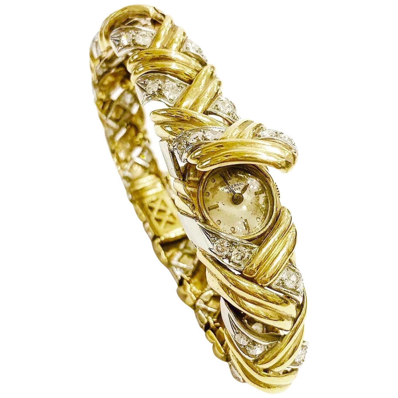 Universal Geneve 1950s Yellow and White Gold, Diamonds Bracelet