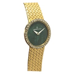Universal Geneve Gold Diamond and Malachite Mechanical Wristwatch