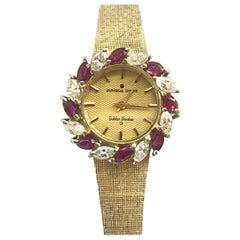Universal Geneve Golden Shawdow Gold Diamonds and Rubies Quartz Wristwatch