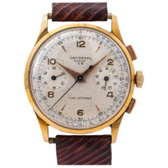 Universal Geneve Uni-Compax Compur 12445, Silver Dial, Certified