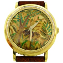 Universal Geneve Yellow Gold Wristwatch with Cloisonne Enamel Dial
